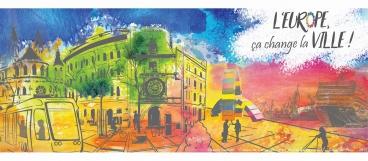 Plaquette de Europe change la ville en Normandie