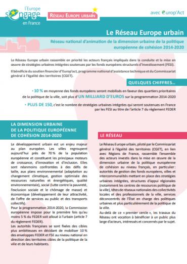 Aperçu du document de présentation du réseau Europe urbain