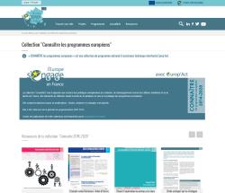 """Aperçu de la page de présentation de la collection """"Connaître les programmes européens"""""""