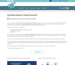 Aperçu de la page sur la concertation nationale sur l'accord de partenariat