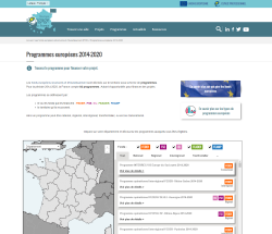 Aperçu de la page Programmes européens 2014-2020